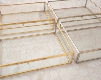 Made to Order: Bulk Price 25 pcs Glass Box 6.25 x 4.25 x 1.5 inches Gold or silver finish