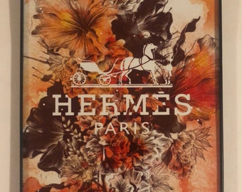 Hermes bloom art print with borderless frame