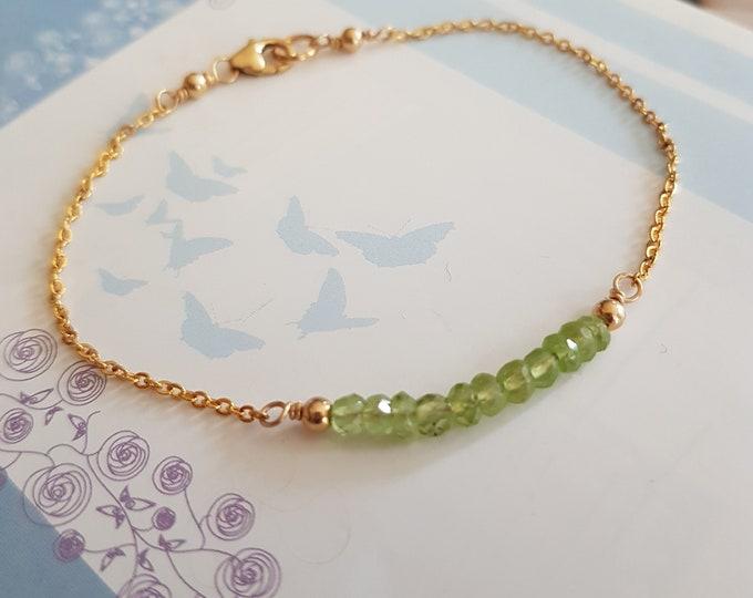 Tiny Peridot bracelet 18K Gold fill or Sterling Silver green gemstone bead bracelet green bracelet August Birthstone jewelry Chakra gift