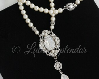 Pearl Bridal Necklace Wedding Necklace Swarovski Pearl Wedding Jewelry Crystal Pendant Necklace Bridal Jewelry RYAN NECKLACE