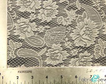 """White Paisley Flower Lace Fabric Nylon 58-60"""" 132811"""
