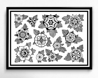 Mandala flowers print