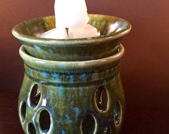 Wax Melter, Wax Warmer, Oil Warmer, Oil Diffuser, Ceramic Mediterranean Sea Green