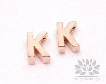 "IP002-GRG-K// Glossy Rose Gold Plated Simple Initial ""K"" Pendant, 2 pcs"