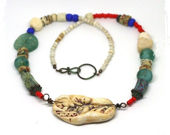 Ancient Roman Glass Raw Stone Rustic Mixed Media Artisan Bead Short Necklace OOAK Boho Art to Wear