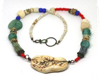 Polymer Clay Jewelry Raw Stone Roman Glass Trade Bead Boho Necklace Art to Wear Artisan Handcrafted OOAK