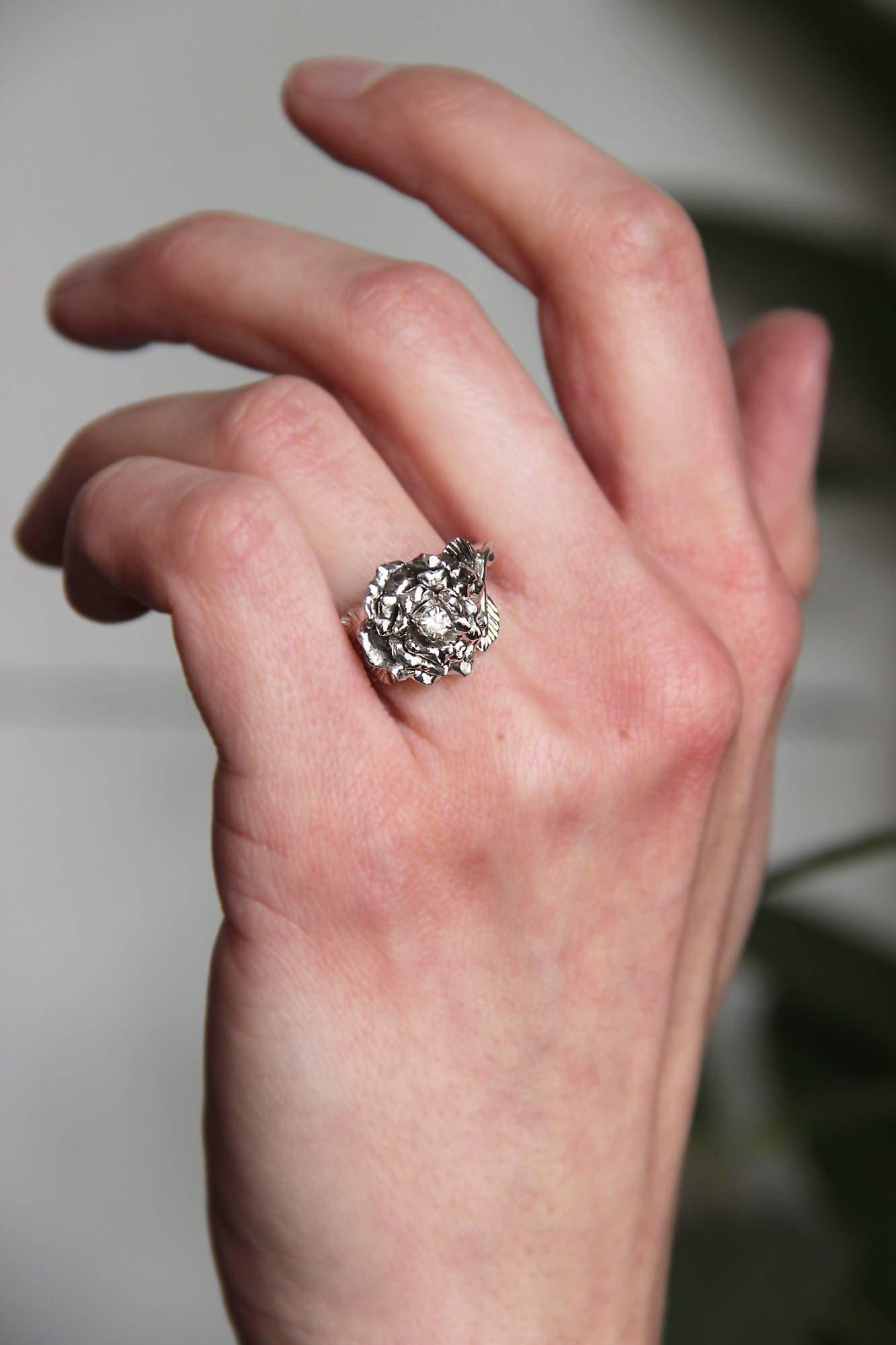 Rose ring, diamond ring, white gold ring, engagement ring, flower ...