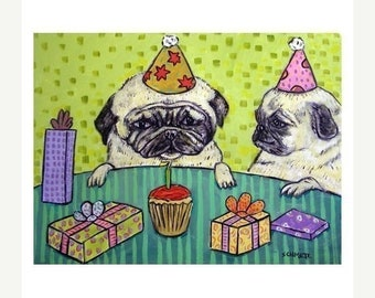 25% off Pug birthday party signed dog art print gift gifts