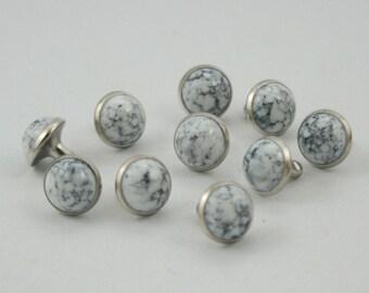 100 sets White Turquoise Rivet Stud Leather Craft Decorations Fashion 9 mm.