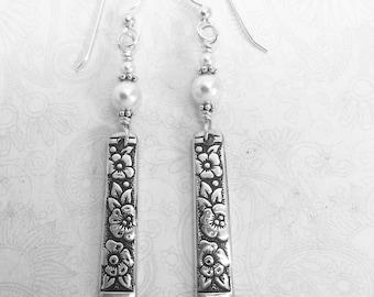 Dangle Spoon Earrings, with White Pearls, 'Venetian Garden' 1971, Silverware Jewelry