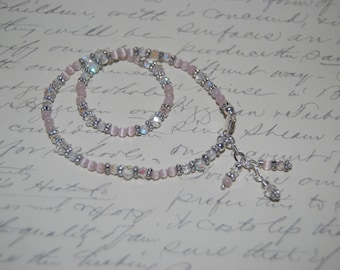 Romantic Pink  Cat Eye Glass, Clear Crystal, Silver Elements Sexy Anklet.