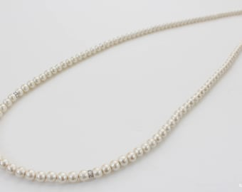 Cotton pearl long necklace, single strand long pearl necklace, double strand simple pearl necklace, bridal pearl necklace, wedding necklace