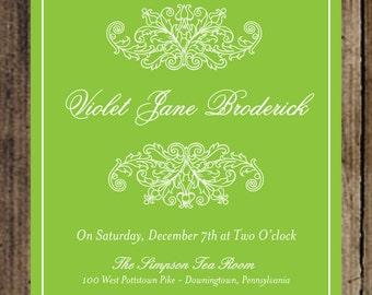 Simply Classic Damask Bridal Shower Invitation, printable file