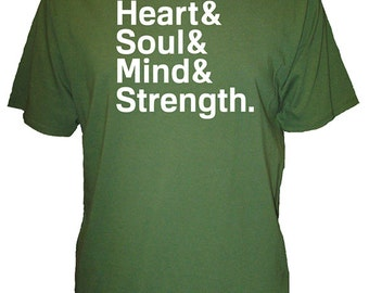 Mens Shirt - Christian Mens Organic Shirt - Heart & Soul, Mind, Strength Shirt Bamboo Shirt - 3 Colors Available S, M, L, XL - Gift Friendly