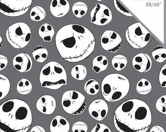 Nightmare Before Christmas Fabric Jack Faces Fabric Gray KNIT Fabric From Camelot