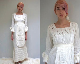 MEXICAN WEDDING DRESS Boho Wedding Dress Vintage Wedding Dress Long Sleeve Wedding Dress Embroidered Wedding Dress 70s Georgia Charuhas