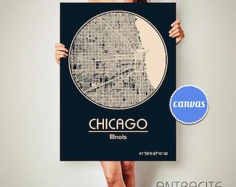 CHICAGO Illinois City Map Chicago Illinois Art Print Chicago poster CHICAGO map art United States of America Poster Illinois state Chicago