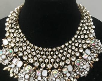Statement necklace Crystal collar Boho necklace Victorian jewelry Wedding necklace Crystal necklace Multi Strand Statement Necklace