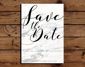 Simple White And Grey Save The Date Wedding Invitations A6