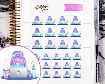 Rose 002 | Working on Computer Stickers, Planner Stickers, Erin Condren Stickers, Happy Planner, Work Stickers, Laptop, Office (27 Stickers)
