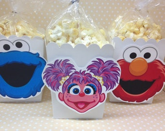 Sesame Street, Elmo, Abby Party Popcorn or Favor Boxes - Set of 10