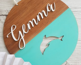 Personalised wooden Children's dolphin name plaque sign