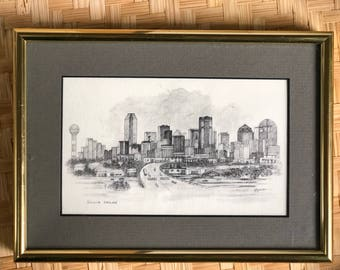 Dallas Skyline Pencil Drawing Signed by Artist