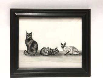 Triple Cat- Original Drawing