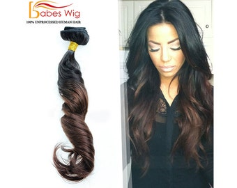 100% Real Human Hair Clips In Hair Extensions Full Set Ombre Hair Extensions // Black to Brown //Virgin Remy Clip-In Hair Extensions