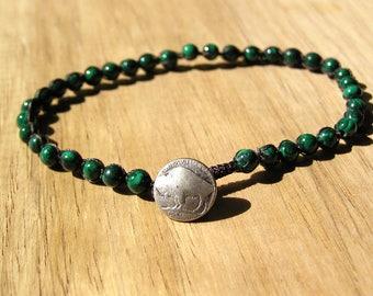Malachite Macrame Bracelet / 8 inch