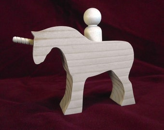 Unicorn with Peg Doll Rider, Unfinished Wood