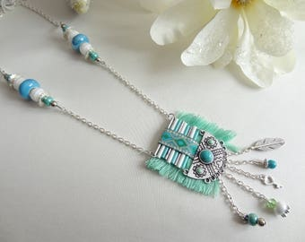 Necklace woman/ethnic green and blue fancy turquoise/necklace made ethnic necklace/handmade / gift/water green necklace