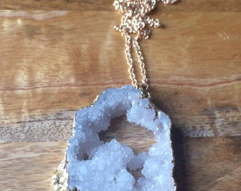 Snow White Agate slice necklace - Large!