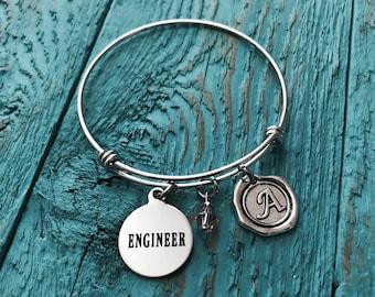 Female Engineer, Civil Engineer, Mechanical Engineer, Engineering, Graduation, Gifts, Silver Bracelet, Silver Jewelry, Charm Bracelet
