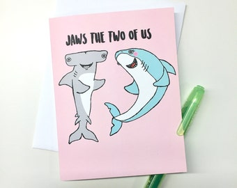 Shark Anniversary Valentines Card - Handmade A2 Hammerhead Shark Valentines Hip Hop Love Card with foiled lettering