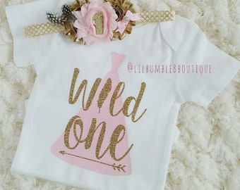 WILD ONE birthday girl outfit, 1st birthday, Pink and gold birthday, 1st birthday headband, Teepee birthday, Wild one decor