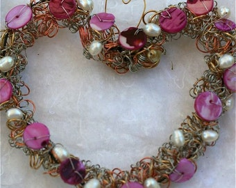 Romantic  heart wreath pink fuschia white pearls wire wrapped and beaded ornament gift romantic mothers day wedding