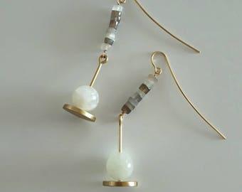 "White and Grey Moonstone ""Pendulum"" Earrings"