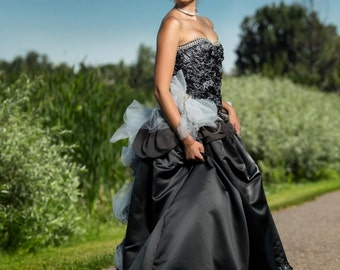 Satin Rosette Gown with Decorated Train