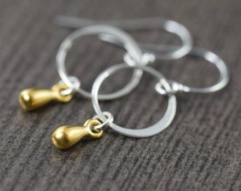 Minimal earrings Teardrop earrings in sterling silver vermeil  gifts for her