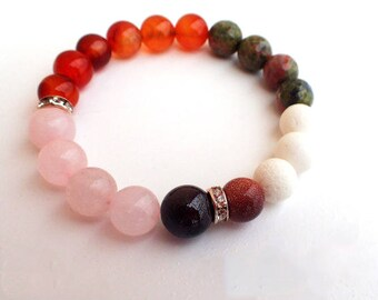 Beaded bracelet , Carnelian bracelet , Healing bracelet , Rose Quartz bracelet , Fertility bracelet , Gift for her , Gift for girlfriend