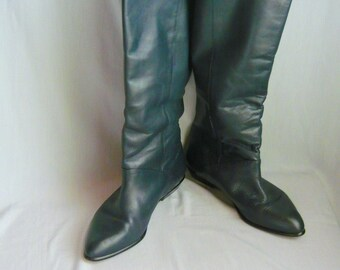 Vintage Blue Pirate Slouch Boots / size 7 M Eur 37 .5 UK 4 .5 / Leather Flat Pixie Cuff Boot / made in Uruguay
