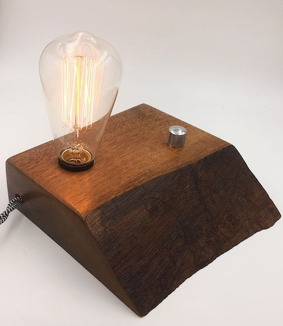 Live Edge Walnut Wood Block Desk Lamp. Edison Bulb and rotary on/off switch with Guitar Knob