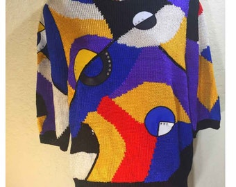 Lillie Rubin Mixed Media Vintage Multi Color Sweater 1970s - 1980s