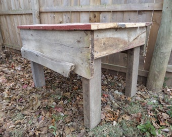 REDUCED Beautiful 1800's Reclaimed Barn Wood Salvaged Upcycled Coffee Table Primitive Antique Home Cabin Country Decor Piece 28x38