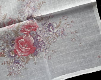 White cotton vintage handkerchief Fisba with flowers