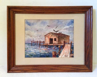 SEASCAPE Dock Boathouse Watercolor Painting Framed Signed Vernon Childe Vintage Painting