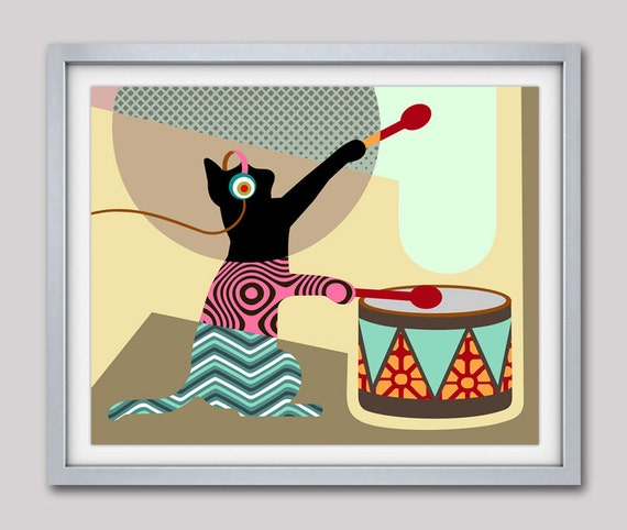 Pop Art Cat Poster, Cat Illustration, Cat Art, Cat Art Work, Cat Decor, Pet Lover Gifts, Funny Cat Gift, Cat Lover Gift