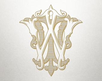 Wedding Invitation Monogram - TW WT - Invitation Monogram - Vintage