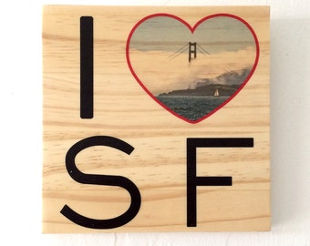 "I Heart SF: Afternoon Fog - 7""x7"" Distressed Photo Transfer on Wood"